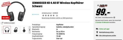 SENNHEISER HD 4.40 BT Wireless Kopfhörer Schwarz - jetzt 34% billiger