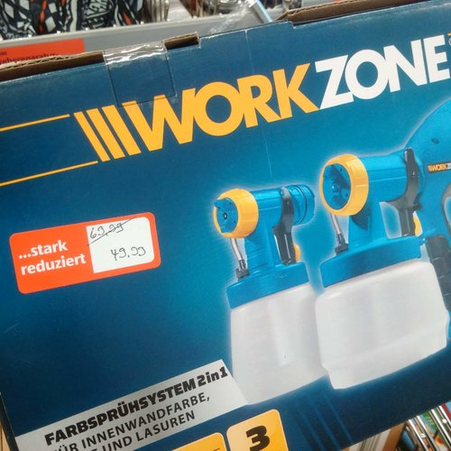 WorkZone Farbsprühsystem 2 in 1, Sprüheinheit Innenwandfarbe und Lacke/Lasuren - jetzt 29% billiger