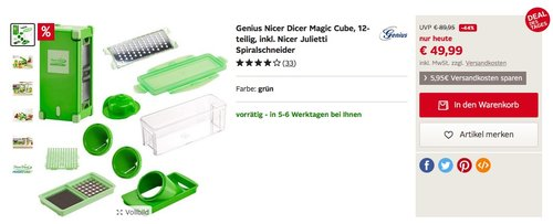 Genius Nicer Dicer Magic Cube, 12-teilig, inkl. Nicer Julietti - jetzt 23% billiger