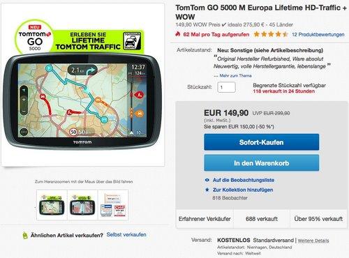 TomTom GO 5000 M - jetzt 44% billiger
