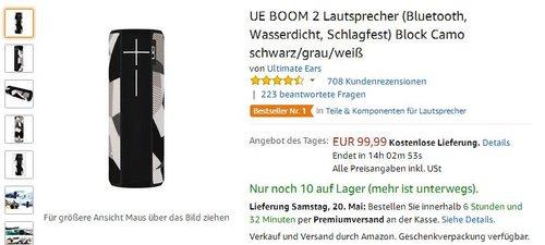 UE BOOM 2 Lautsprecher (Bluetooth, Wasserdicht, Schlagfest) Block Camo schwarz/grau/weiß - jetzt 23% billiger