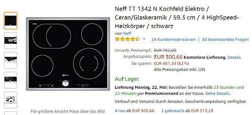 Neff TT 1342 N Kochfeld Elektro / Ceran/Glaskeramik / 59.3 cm / 4 HighSpeed-Heizkörper / schwarz - jetzt 27% billiger
