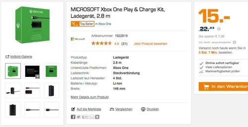 Microsoft Xbox One Play & Charge Kit - jetzt 35% billiger
