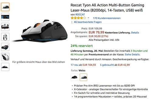 Roccat Tyon All Action Multi-Button Gaming Laser-Maus (8200dpi, 14-Tasten, USB) weiß - jetzt 27% billiger