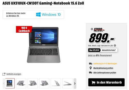 ASUS UX510UX-CN130T Gaming-Notebook 15.6 Zoll - jetzt 31% billiger