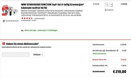 WMF FUNCTION Topf-Set 4-teilig Cromargan - jetzt 15% billiger