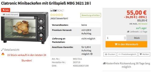 Clatronic MBG 3521 Backöfen und Herde - jetzt 39% billiger