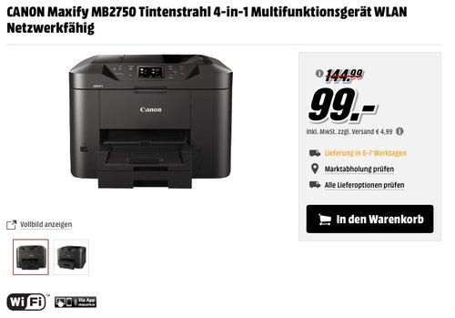 CANON Maxify MB2750 Tintenstrahl 4-in-1 Multifunktionsgerät - jetzt 32% billiger
