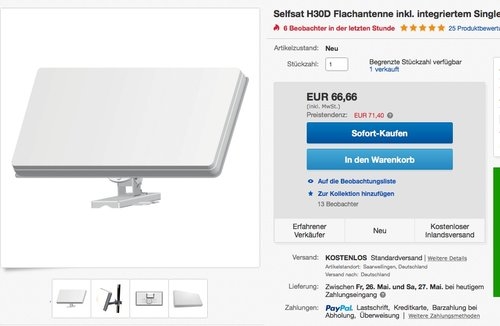 Selfsat H30D Flachantenne inkl. integriertem Single LNB - jetzt 16% billiger