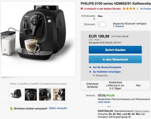 PHILIPS 2100 series HD8652/91 Kaffeevollautomat Milchaufschäumer - jetzt 17% billiger
