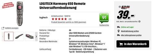 LOGITECH Harmony 650 Remote Universalfernbedienung - jetzt 38% billiger