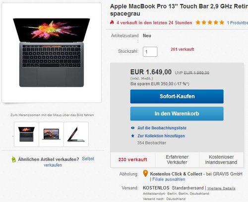 "Apple MacBook Pro 13"" Touch Bar 2,9 GHz Retina, 256 GB SSD, 8 GB RAM, spacegrau - jetzt 5% billiger"