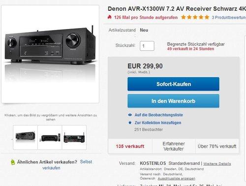 Denon AVR-X1300W AV-Receiver - jetzt 19% billiger