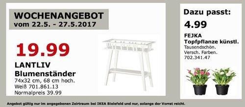 IKEA  LANTLIV Blumenständer, 74 x32 cm, 68 cm hoch, weiß - jetzt 50% billiger