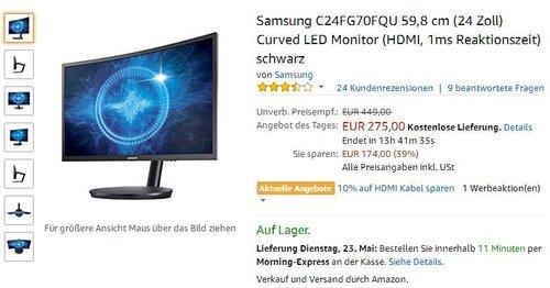 Samsung C24FG70FQU Curved LED Monitor - jetzt 21% billiger