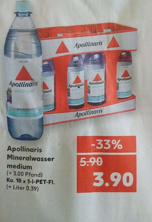 Apollinaris Mineralwasser medium, Ka. 10x 1-L-Pet-Fl - jetzt 34% billiger