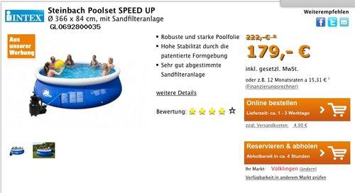 Steinbach Poolset SPEED UP, Ø 366 x 84 cm, mit Sandfilteranlage - jetzt 19% billiger