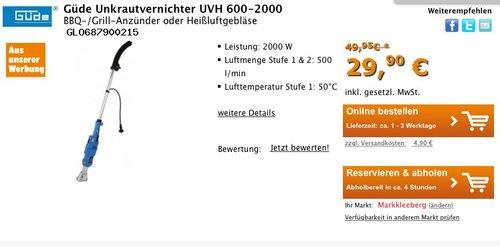 Güde Unkrautvernichter UVH 600-2000 BBQ-/Grill-Anzünder oder Heißluftgebläse - jetzt 40% billiger