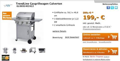 TrendLine Gasgrillwagen Calverton, silber - jetzt 33% billiger