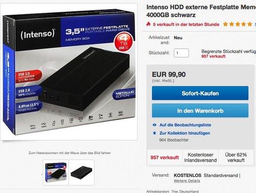Intenso Memory Box ext. 4TB-Festplatte - jetzt 12% billiger