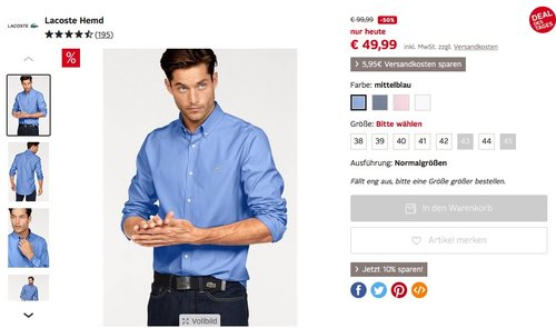 Lacoste Herren Hemd - jetzt 50% billiger