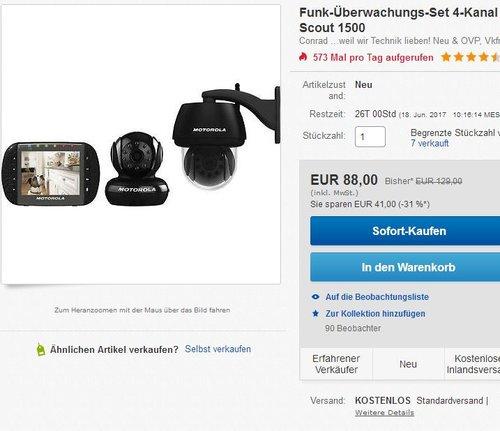 Funk-Überwachungs-Set 4-Kanal mit 2 Kameras Motorola 10B8057 Scout 1500 - jetzt 32% billiger