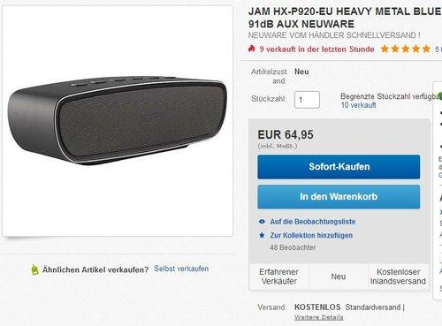 Jam HX-P920-EU HEAVY METAL Bluetooth Lautsprecher silber - jetzt 28% billiger