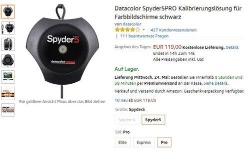 Datacolor Spyder5PRO Kalibrierungslösung für Farbbildschirme, schwarz - jetzt 20% billiger