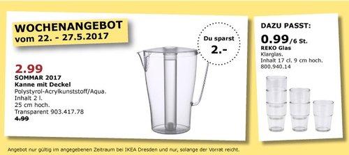 IKEA SOMMAR 2017 Kanne mit Deckel, Inhalt 2 L, 25 cm hoch, transparent - jetzt 40% billiger