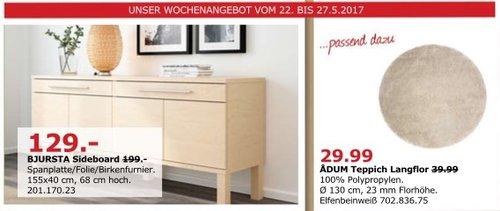 IKEA BJURSTA Sideboard, 155x40 cm, 68 cm hoch, Birkenfurnier - jetzt 35% billiger