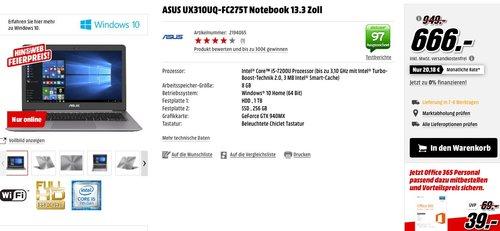 ASUS UX310UQ-FC275T Notebook 13.3 Zoll - jetzt 30% billiger