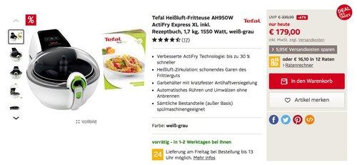 Tefal AH950W ActiFry Express XL Heißluft-Fritteuse inkl. Rezeptbuch, 1,7 kg Fassungsvermögen, 1550 W - jetzt 18% billiger