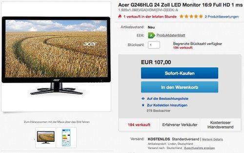 Acer G246HLG 24 Zoll LED Monitor - jetzt 23% billiger