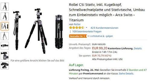 Rollei C5i Stativ, inkl. Kugelkopf, Titanium - jetzt 21% billiger