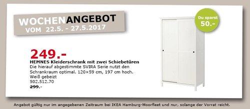 IKEA HEMNES Kleiderschrank mit 2 Schiebetüren, weiß gebeizt, 120x59 cm, 197 cm hoch - jetzt 17% billiger