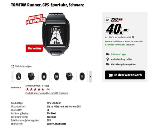 TomTom GPS Sportuhr Runner - jetzt 38% billiger