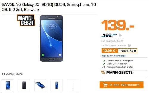 SAMSUNG Galaxy J5 (2016) DUOS, Smartphone, 16 GB, 5.2 Zoll, Schwarz - jetzt 18% billiger