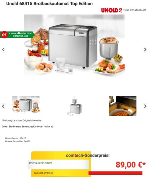 Unold 68415 Brotbackautomat Top Edition - jetzt 26% billiger