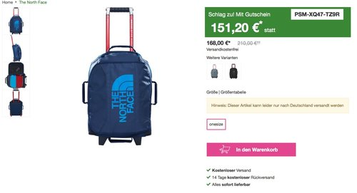 The North Face Rolling Thunder 19 Laptop Rollkoffer, 49 cm, 33 liters, Blau - jetzt 10% billiger
