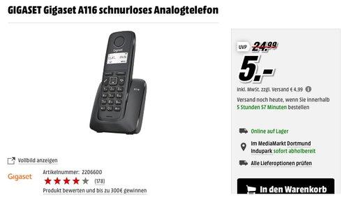 GIGASET Gigaset A116 schnurloses Analogtelefon - jetzt 80% billiger
