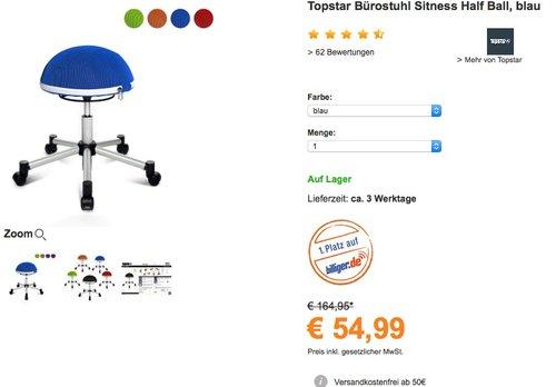 Topstar SH17BB0 Fitness-Hocker Sitness Half Ball - jetzt 39% billiger