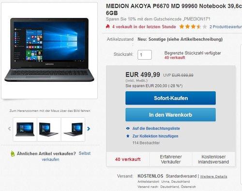 MEDION AKOYA P6670 39,6cm (15,6 Zoll) Notebook - jetzt 16% billiger