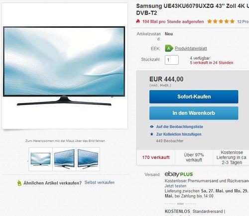"""Samsung UE43KU6079UXZG 43"""" Zoll Ultra HD - jetzt 5% billiger"""