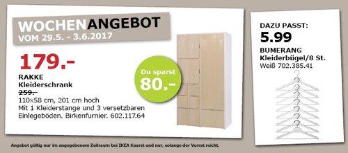 IKEA RAKKE Kleiderschrank, 110 x 58 cm, 201 cm hoch, Birkenfurnier - jetzt 31% billiger