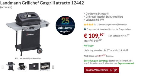 Landmann 12442 Atracto Gasgrill - jetzt 27% billiger