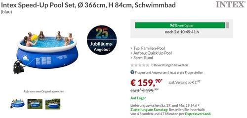Intex Speed-Up Pool Set, Ø 366cm, H 84cm, Schwimmbad - jetzt 20% billiger