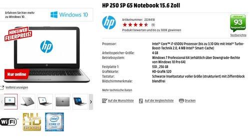HP 250 SP G5 Notebook 15.6 Zoll, i7-6500U, 256  GB SSD, Windows 7 Pro, 4 GB RAM, HD-Grafik 520 - jetzt 20% billiger