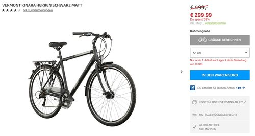 Vermont Kinara Herren schwarz matt 2016 Trekkingrad - jetzt 15% billiger