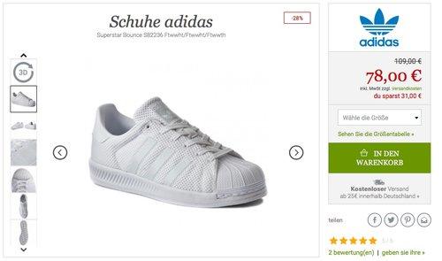 Adidas Herren Superstar Bounce Sneaker - jetzt 28% billiger