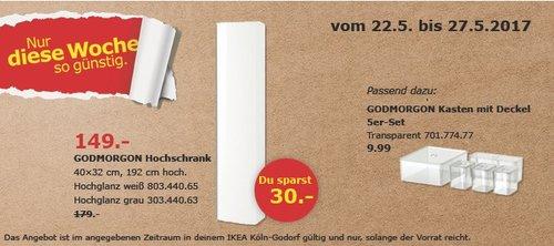 IKEA GODMORGON Hochschrank, 40x32 cm, 192 cm hoch, Hochglanz weiß - jetzt 17% billiger